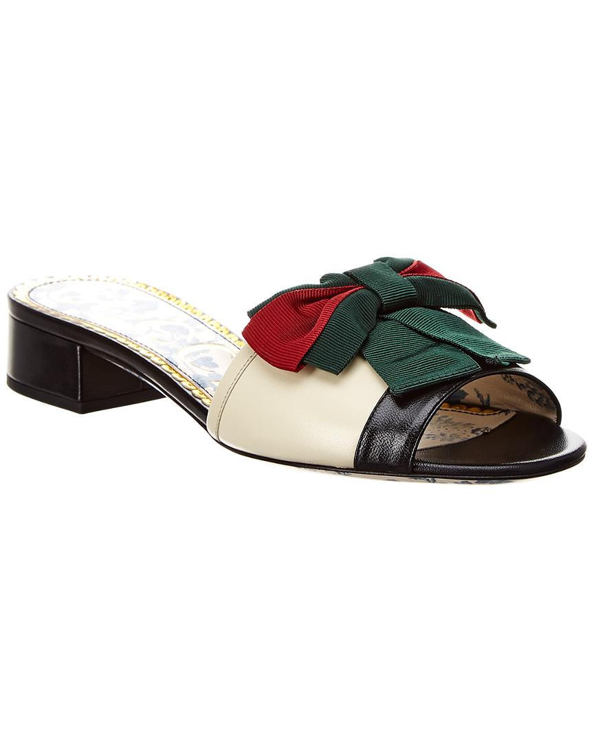 af3939169c8 Gucci Web Bow Leather Slide Sandal