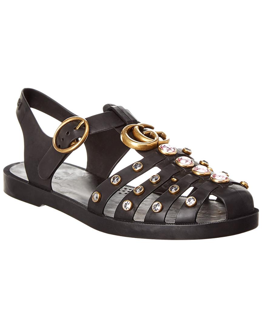 f675fc8f0ba9 Gucci Crystal Embellished Rubber Sandal