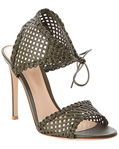 Gianvito Rossi Woven Leather Ankle Tie Sandal
