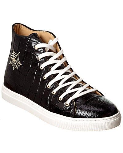 Charlotte Olympia Embossed Leather Hightop Sneaker