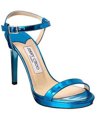 Jimmy Choo Claudette 100 Mirror Leather Sandal