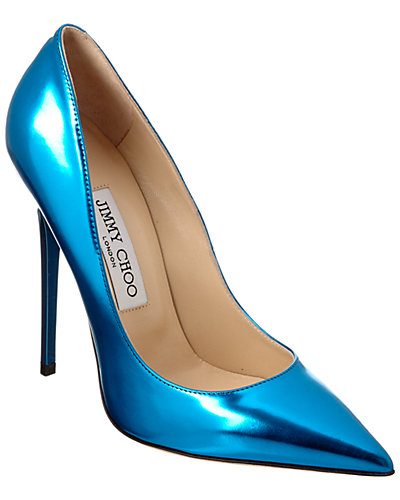 Jimmy Choo Anouk Mirror Leather Pointy-Toe Pump