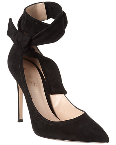 Gianvito Rossi Lane Suede Ankle Wrap Pump