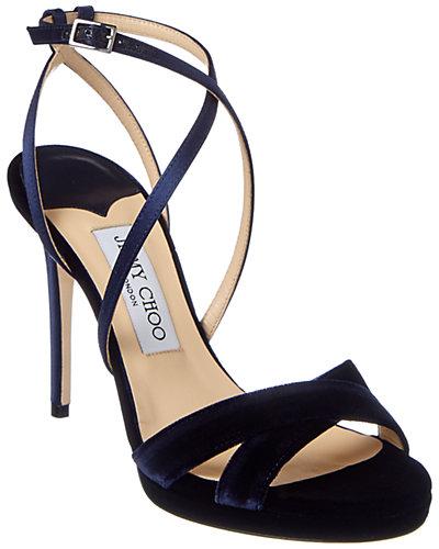 Jimmy Choo Lola 100 Velvet & Satin Platform Sandal