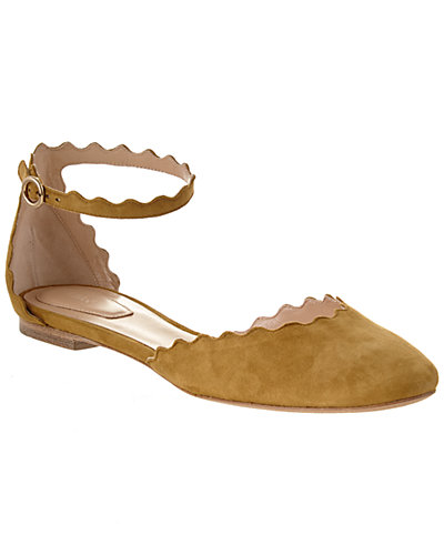 Chloé Lauren Scalloped Suede Ankle Strap Flat