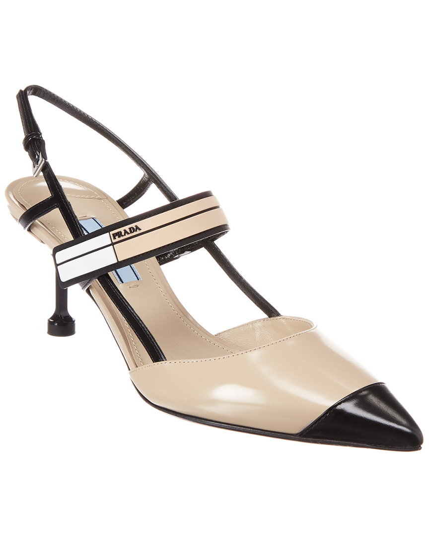 6a6d4f97f Prada 65 Two Tone Leather Slingback Pump | eBay