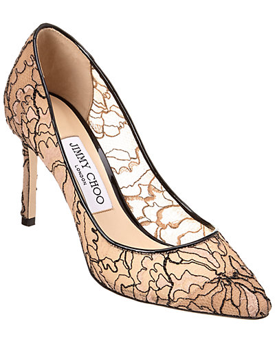 Jimmy Choo Romy 85 Embroidered Lace Pointy-Toe Pump