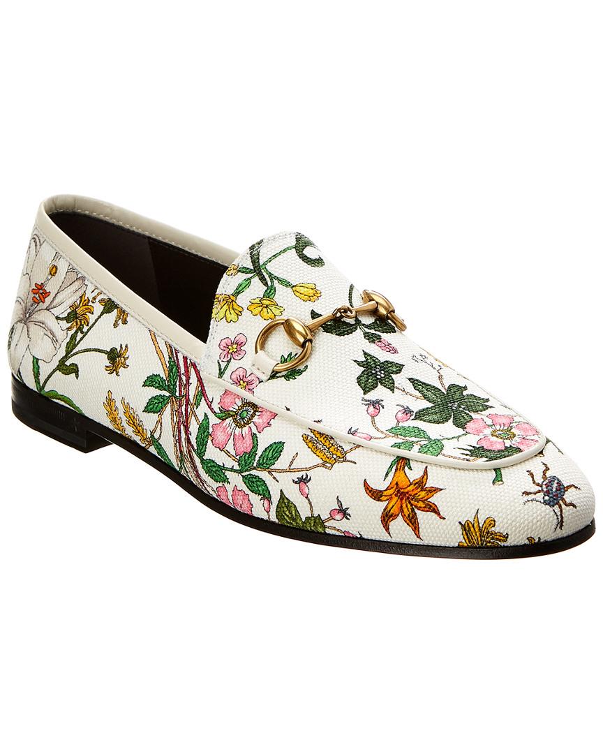 acc4285a15 Details about Gucci Jordaan Flora Print Canvas Loafer Women's 36.5