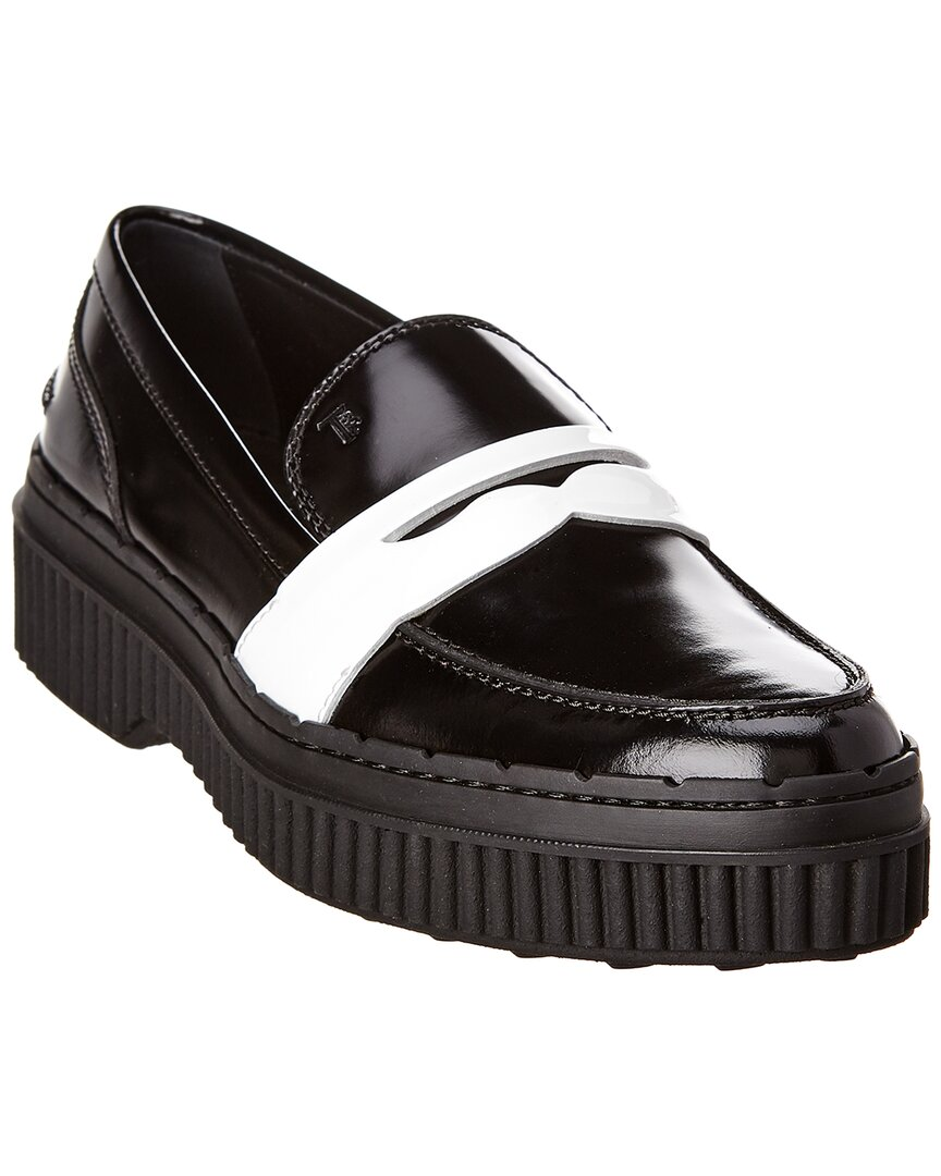 TOD/'S women shoes Black leather white patent penny loafer XXW39A0U240H8S0002