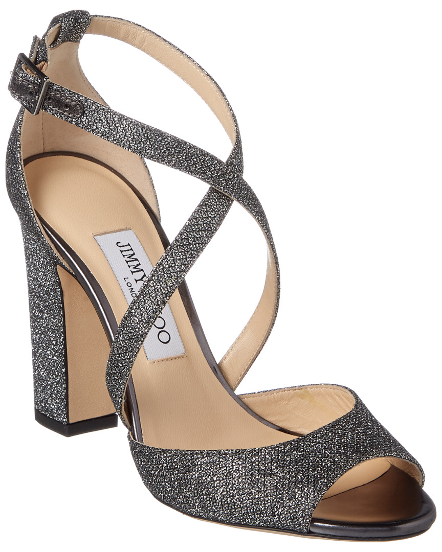 Carrie 100 Lame Glitter Fabric Peep-Toe Sandal 40 Metallic
