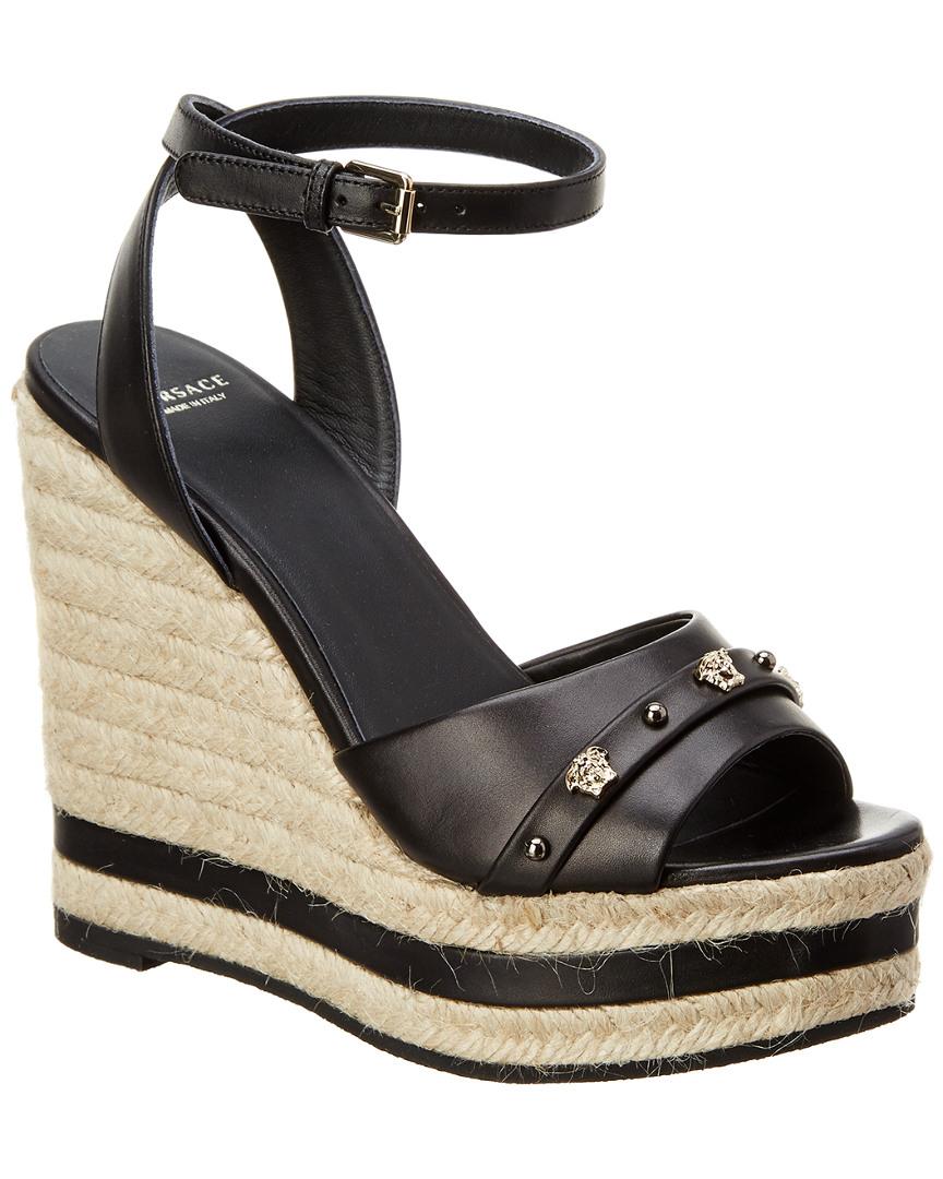 eba5a451a6 Versace Medusa Stud Leather Wedge, 39.5, Black 8050044136021 | eBay