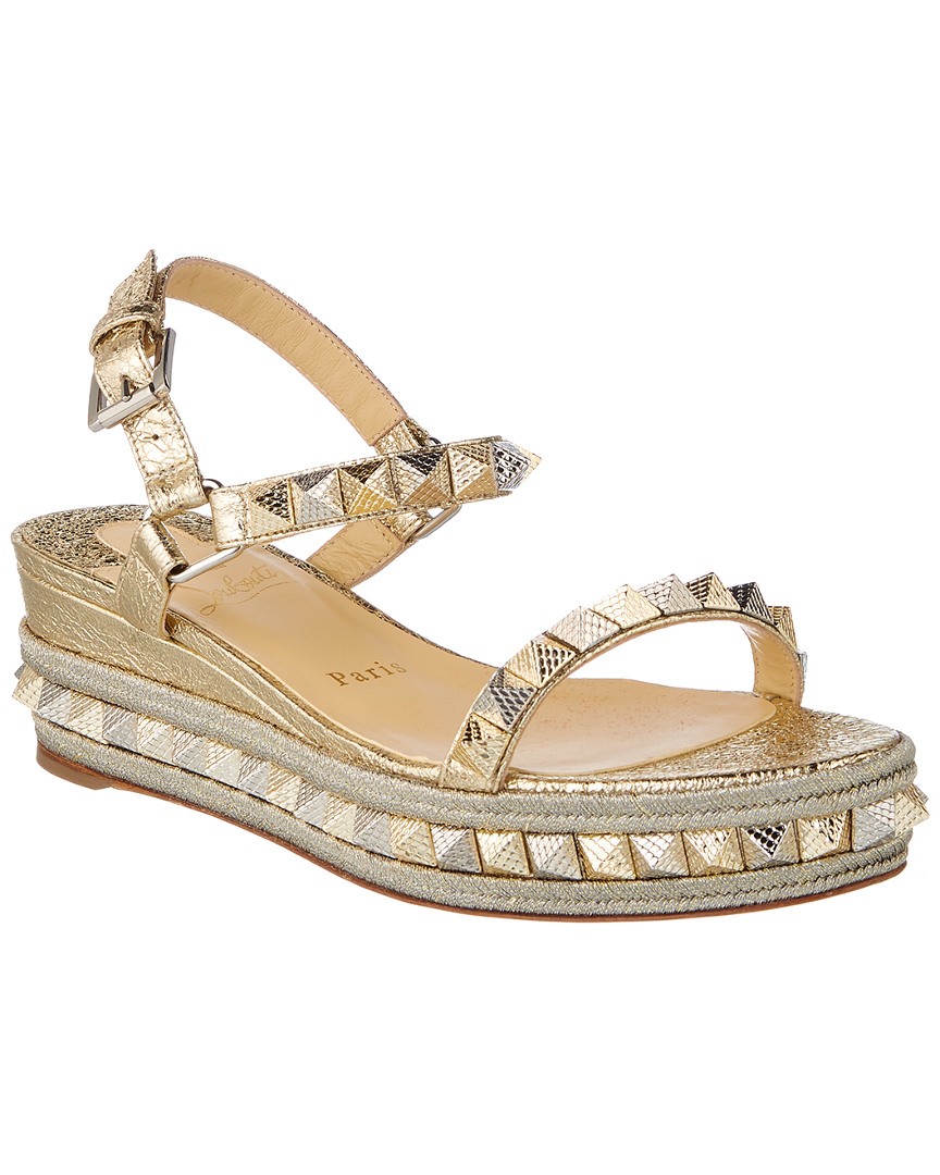 75d30b70504 Christian Louboutin Pyraclou 60 Spiked Leather Wedge Sandal