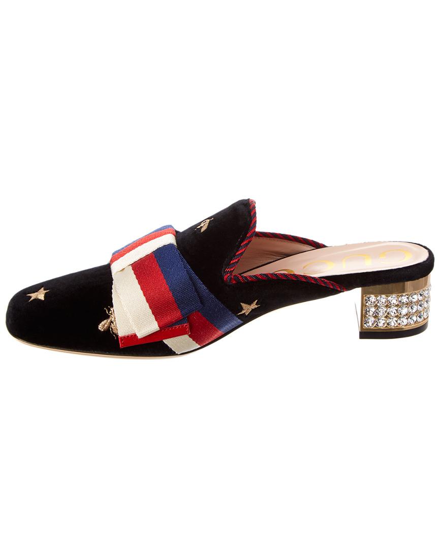 e0e62cfb21c6a5 Gucci-Sylvie-Bow-Embroidered-Velvet-Slide thumbnail 12
