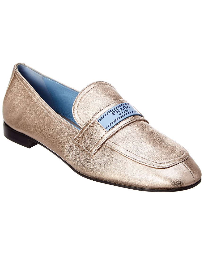 ETIQUETTE LOGO METALLIC LEATHER LOAFER