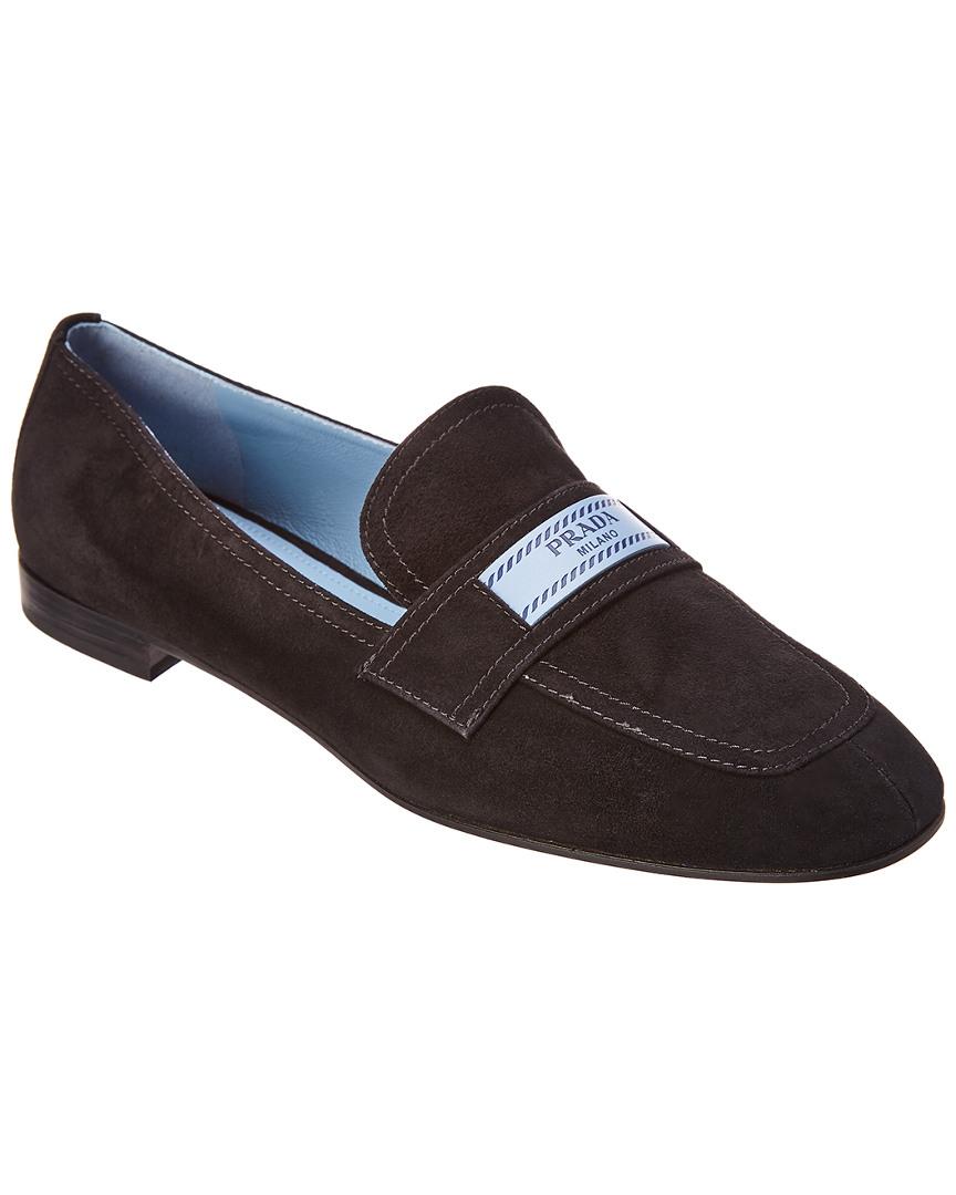 f5b353169a7 Prada Etiquette Logo Suede Loafer In Black