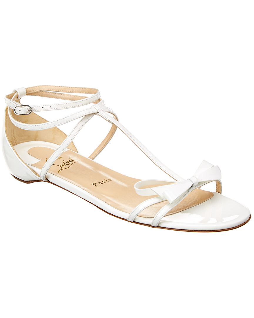 d697d135f4b3 Details about Christian Louboutin Blakissima Bow Flat Leather Sandal