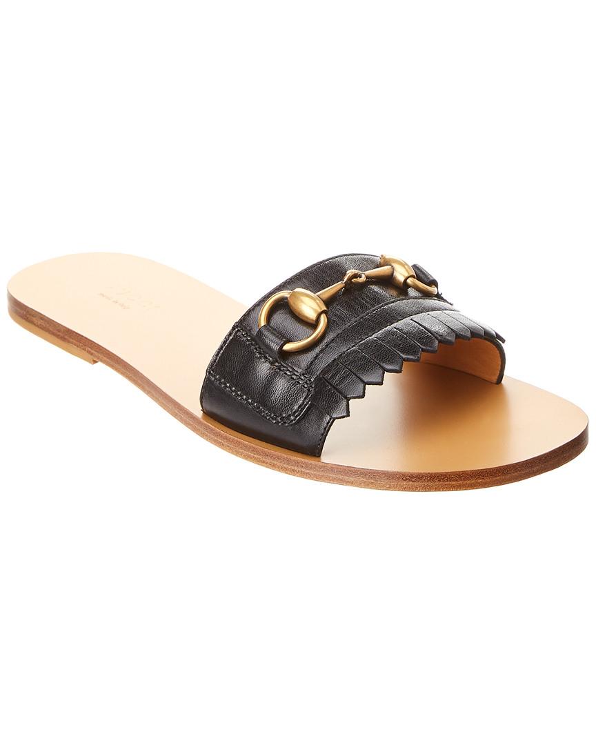 cab3d314423c Gucci Leather Fringe Horsebit Slide Sandal