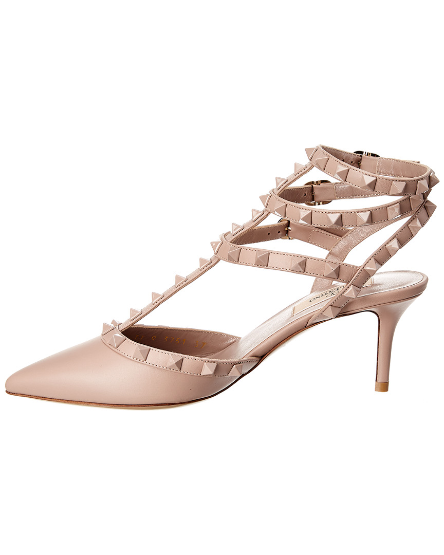 Valentino-Cage-Lacquer-Rockstud-65-Leather-Ankle-Strap-Pump-Women-039-s thumbnail 7