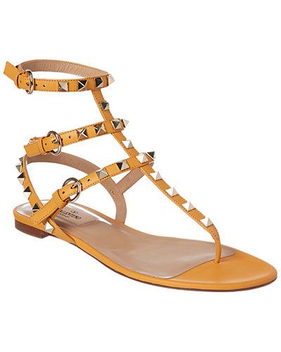 Valentino Rockstud Leather Leather Thong Sandal