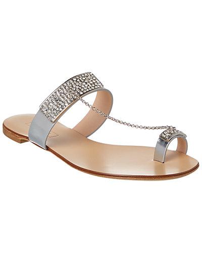Casadei Embellished Metallic Leather Sandal