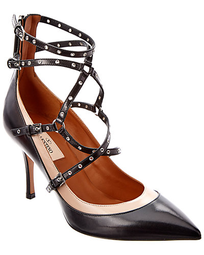 Valentino Love Latch Ankle-Strap Leather Pump