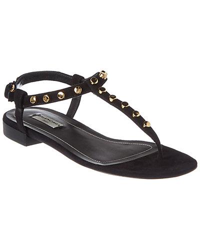 Balenciaga Classic T Strap Studded Suede Sandal
