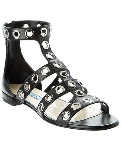 Prada Calf Leather Grommet Gladiator Sandal