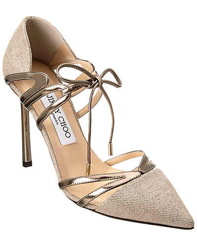 Jimmy Choo Hime 100 Canvas & Mirror Leather Pointy-Toe Pump