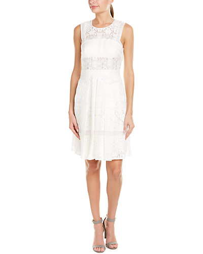 Rebecca Taylor Lace Silk & Linen-Blend A-Line Dress