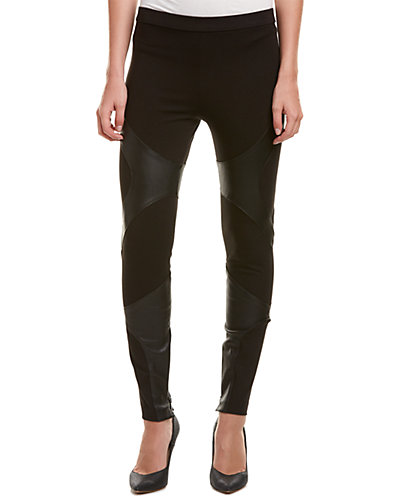 Haute Hippie Leather-Trim Pant