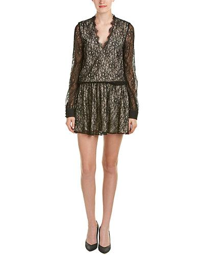 alice + olivia Deena Silk-Trim Blouson Dress
