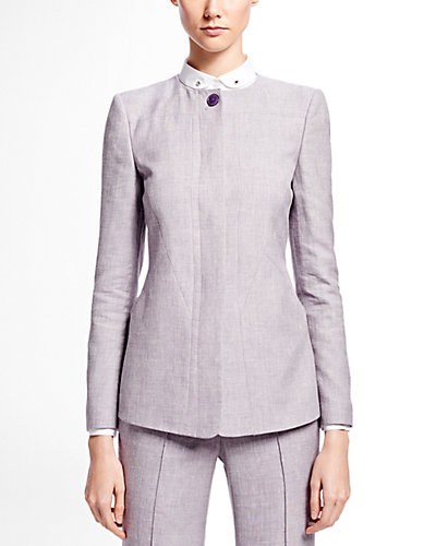 Brooks Brothers Collarless Linen-Blend Jacket