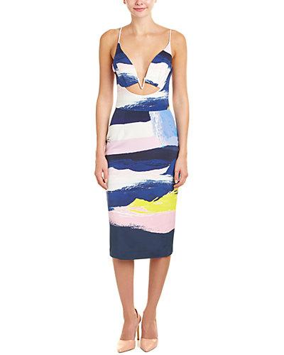 NICHOLAS Cutout Silk Midi Dress