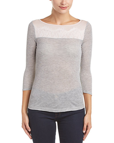 Three Dots Lace-Trim British T-Shirt