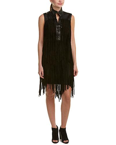 Haute Hippie Lace-Up Suede Shfit Dress