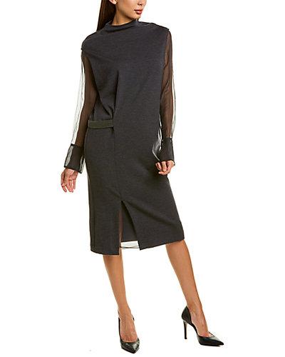 Rue La La — Brunello Cucinelli Funnel Neck Wool-Blend Midi Dress