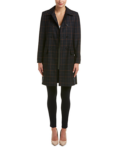 Theory Abla.Tile Wool Check Double-Breasted Coat