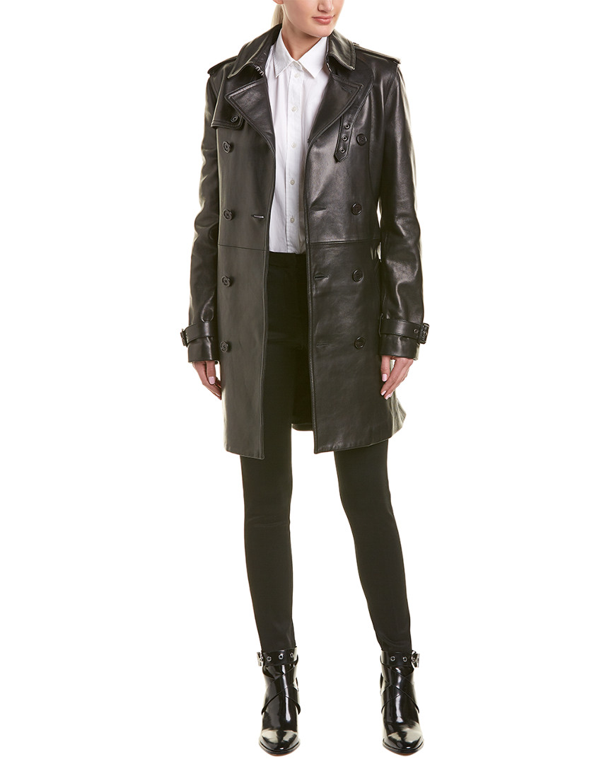 7666e7f97568 Saint Laurent Belted Leather Trench Coat
