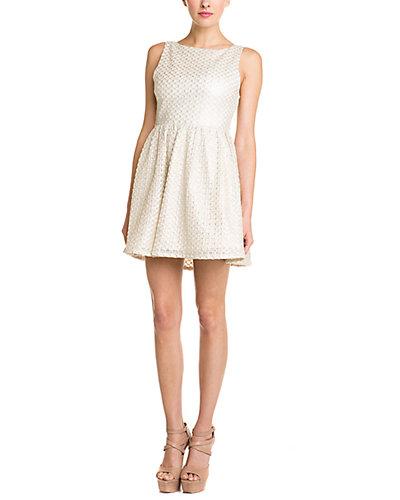 alice + olivia Marla Textured Cutout Back Dress