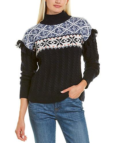 Rue La La — Autumn Cashmere Mock Neck Cashmere & Wool-Blend Sweater