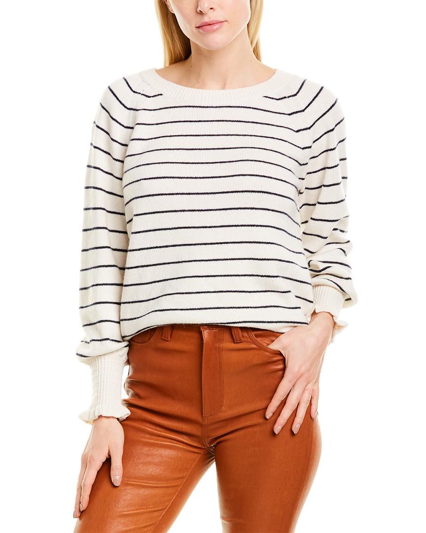 Rebecca-Taylor-Striped-Wool-Blend-Sweater-Women-039-s-White-L