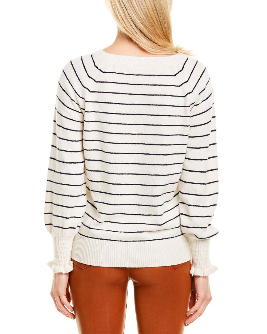 Rebecca-Taylor-Striped-Wool-Blend-Sweater-Women-039-s-White-L miniature 2