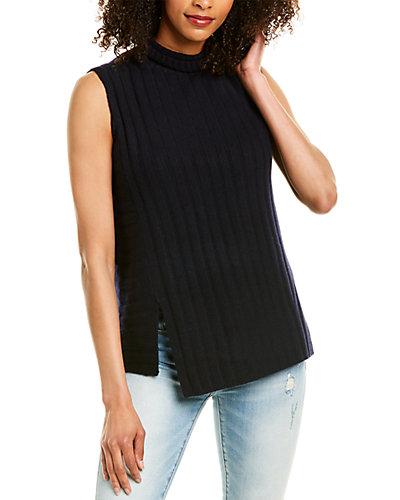 Rue La La — Vince Mixed Rib Wool & Cashmere-Blend Sweater