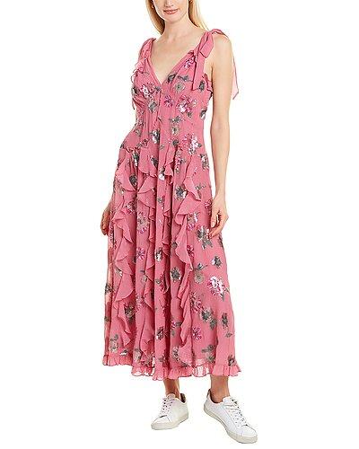 Rue La La — Rebecca Taylor Sequin Bloom Silk-Blend Midi Dress