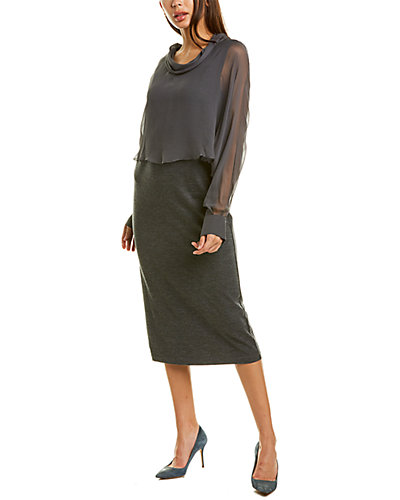 Rue La La — Brunello Cucinelli Silk Overlay Wool-Blend Midi Dress