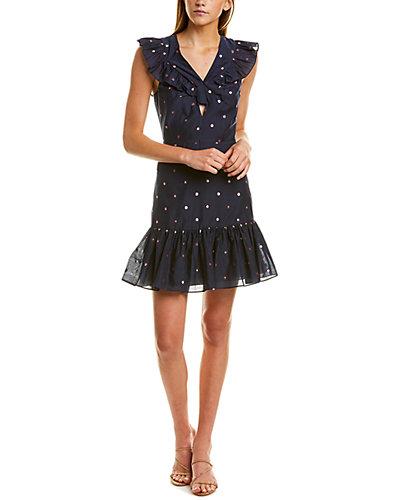 Rue La La — Rebecca Taylor Metallic Clip Silk-Blend A-Line Dress