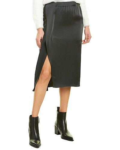 Rue La La — Brunello Cucinelli Asymmetrical Silk-Blend Lined Skirt