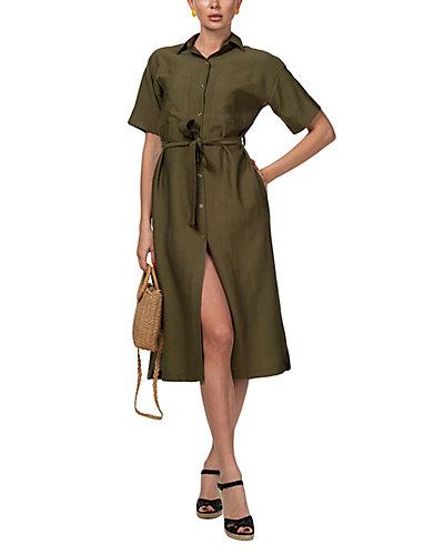 Rue La La — AERIN Linen-Blend Midi Dress