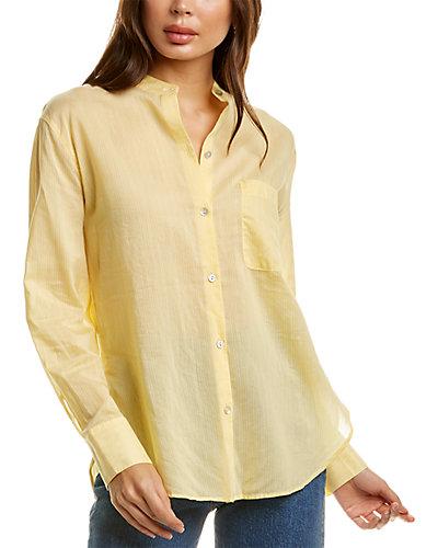Rue La La — Vince Fine Stripe Silk-Blend Woven Shirt