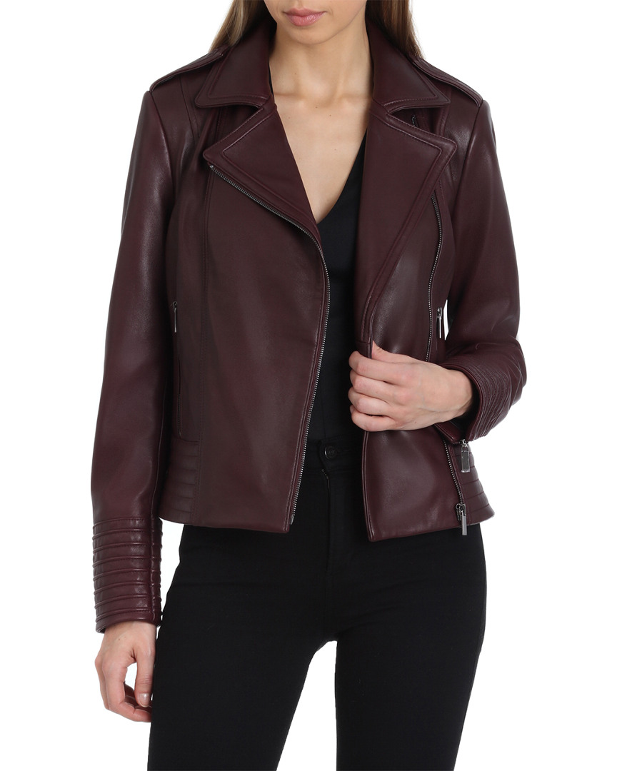 Gia Leather Biker Jacket, Burgundy from Gilt